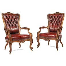 Victorian walnut arm chairs (England, c. 1870)