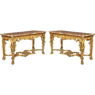 A Superb Pair Of Giltwood Console Tables With Original Marble Tops
