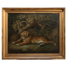 Sand picture of a recumbent tiger attributed to Benjamin Zobel