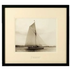Early silver gelatin photograph print of the Gaff rigged yacht Wayward by Beken of Cowes