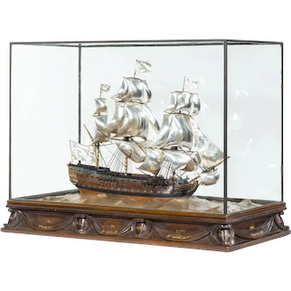 A Silver And Wood Model of HMS Victory by H Wylie