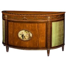 Satinwood antique demi-lune commode