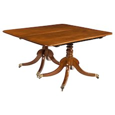 Regency mahogany twin pillar dining table