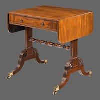 A late George III mahogany sofa table of small proportions