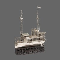 A Chinese silver model of a river steamer