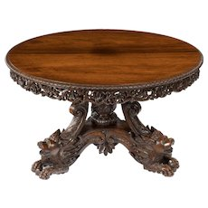 A fine quality Anglo Indian hardwood (probably padouk) centre table