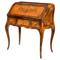 An attractive 18th century English satinwood bureau