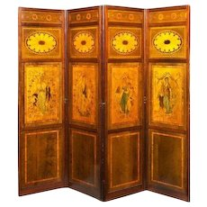 A late victorian mahogany and satinwood inlaid four fold drafts screen, attributed to Hicks of Dublin.