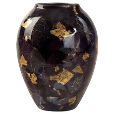 Unusual silver and gold leaf cloisonné vase by Sukiku, 1981.