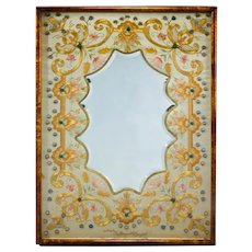 Embroidered silk and gold thread mirror worked by Lady Margaret ED Campbell.