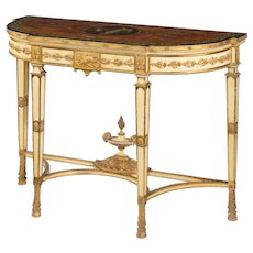 Late Victorian parcel gilt and painted Adam style console table