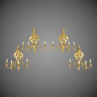 A set of four fine French gilt wall lights