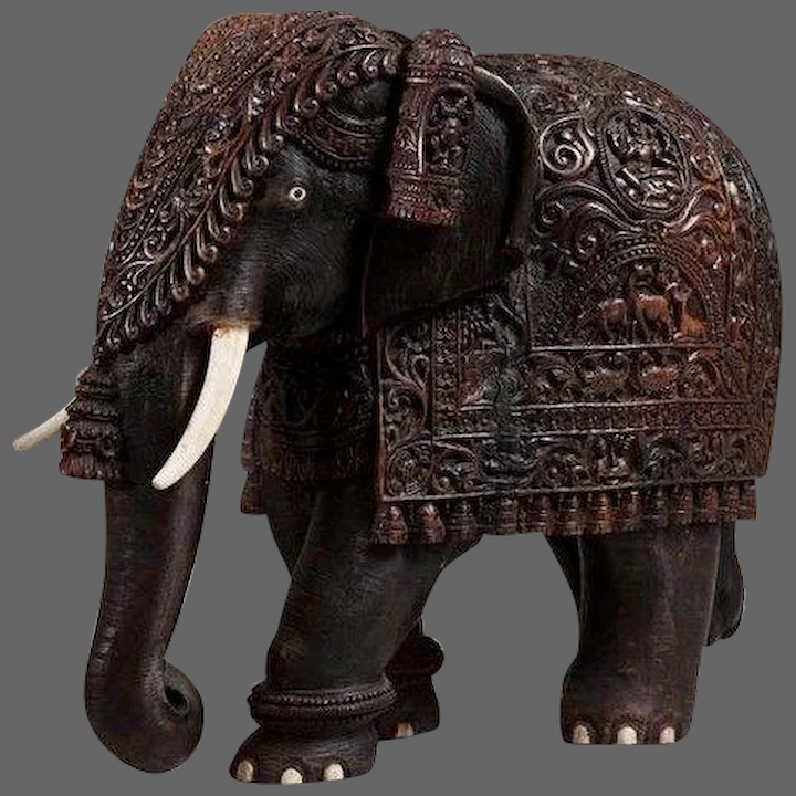 A Large Indian Carved Hardwood Elephant With Bone Tusks And Toe Nails Wick Antiques Ltd Rubylux
