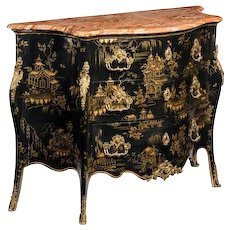 Bombé commode black lacquer