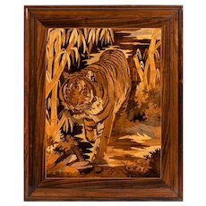 Art Deco period intarsia wood panel of a tiger