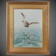 minutely embroidered Chinese silk picture of a sea eagle