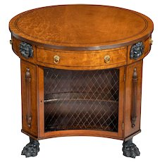 Regency plum-pudding mahogany library centre table and bookcase (England, c. 1810)