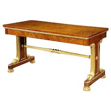 Superb quality amboyna and gilt library table attributed to Morel and Seddon