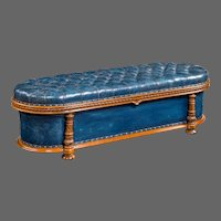 An unusual Victorian mahogany Ottoman by F J Mercer