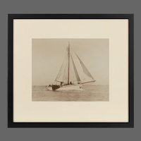 A pair of original prints of the Dutch sailing yacht Verona Signed Kirk Cowes