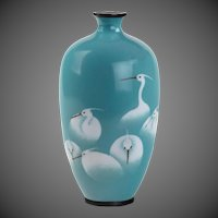 Meiji period cloisonné vase with a flock of white egrets