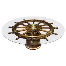 Very Large Table Made from a Late 18th Century Ship's Steering Wheel
