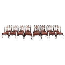 Set of 16 Victorian mahogany dining chairs in the Chippendale style