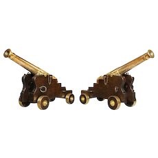 "Fine pair of 19th Century English 41"" barrel bronze cannon on oak carriages"