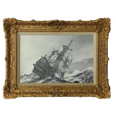'A Galleon in Distress' by Montague Dawson