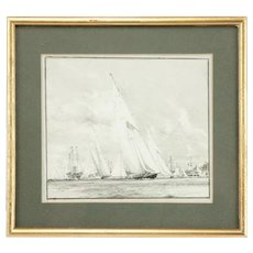 Watercolour of Britannia K1 prepared for King George V by Charles Dixon RA