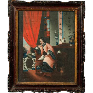 Chinese oil paintings in original frames