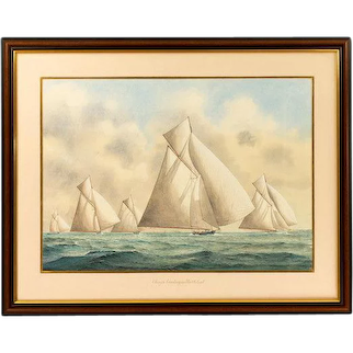 Framed watercolour of 15 metre class yachts