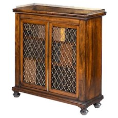 A Regency rosewood two door bookcase of rectangular form