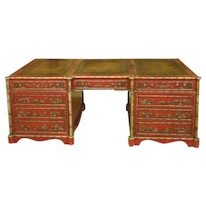 English library pedestal partners desk with chinoiserie decoration