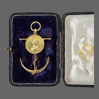 Commemorative Brooch by Edmund Johnson, in 18ct Gold With It's Original Case