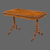 Early Victorian solid walnut library table made for Gillows by John Barrow