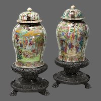 Matched pair of Cantonese enameled porcelain standing jars