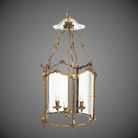 A late 19th century French hexagonal ormolu hanging lantern