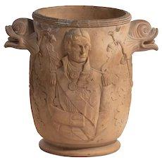 A rare Davenport terracotta Nelson wine cooler, c1805