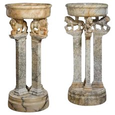 Magnificent pair of Italian alabaster jardinieres