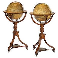 A pair of George III Cary's 12 inch floor globes