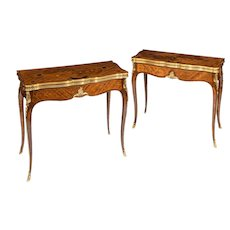 A pair of kingwood card tables by G. Durand