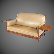 Arts and Crafts Cotswold School brown oak two seater sofa