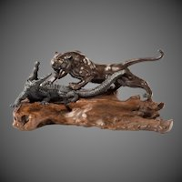 An unusual Meiji period bronze of a tiger and an alligator by Genryusai Seiya
