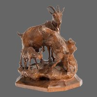 A Black Forest wood carving of a mountain goat