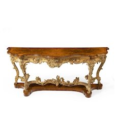 A mid Victorian wood and gilt console table