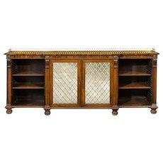 Regency rosewood breakfront side cabinet/open bookcase