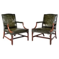 Pair Antique Georgian mahogany Chippendale period library open armchairs