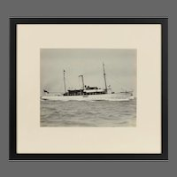 Early silver gelatin Photographic print the Steam yacht Cressida at anchor in the Solent