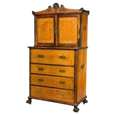 Anglo Chinese Amboyna and secretaire bookcase
